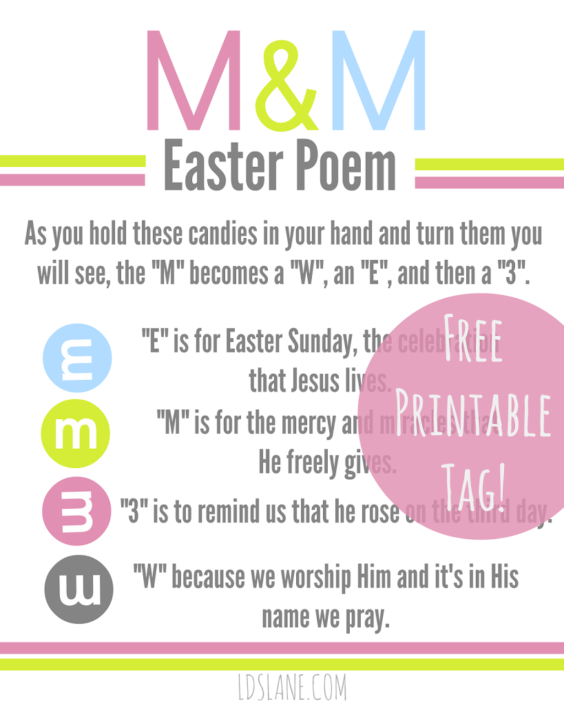 Free Printable M M Easter Poem