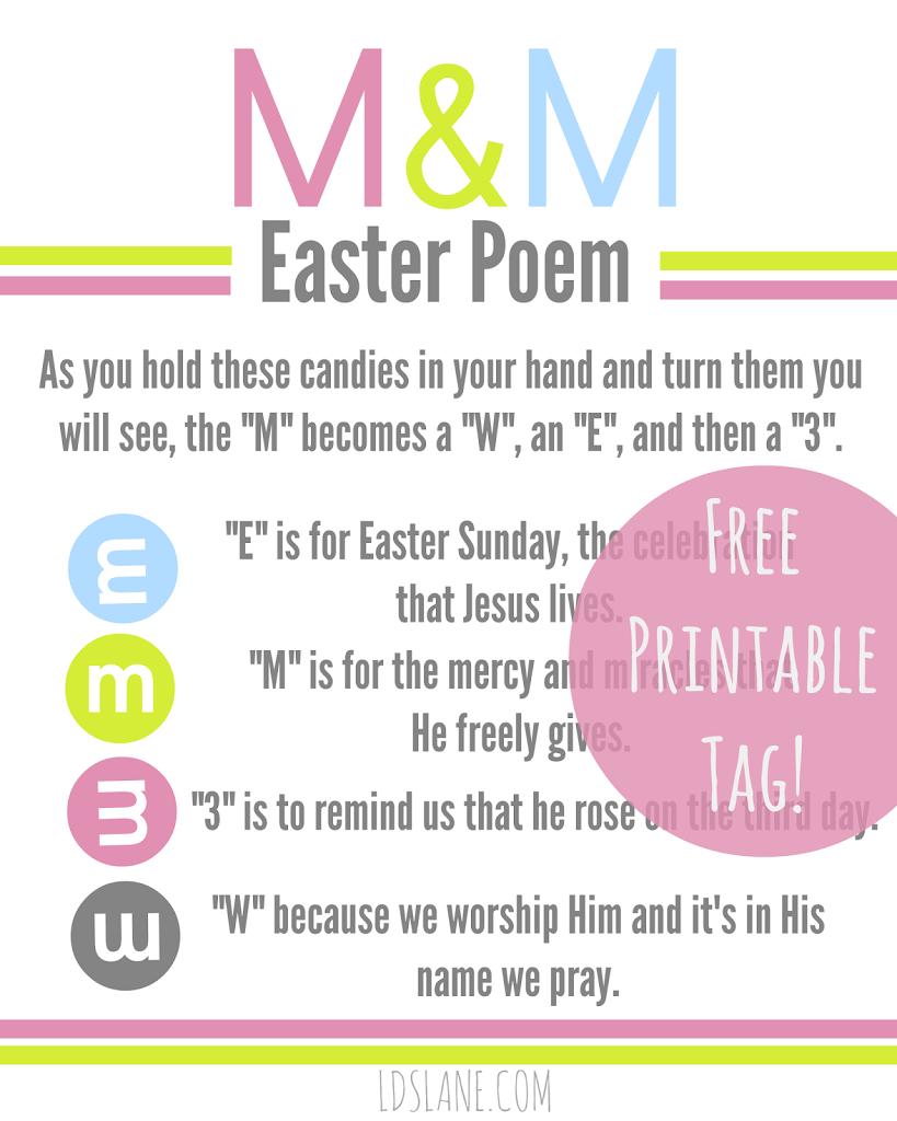 Printable M M Easter Poem