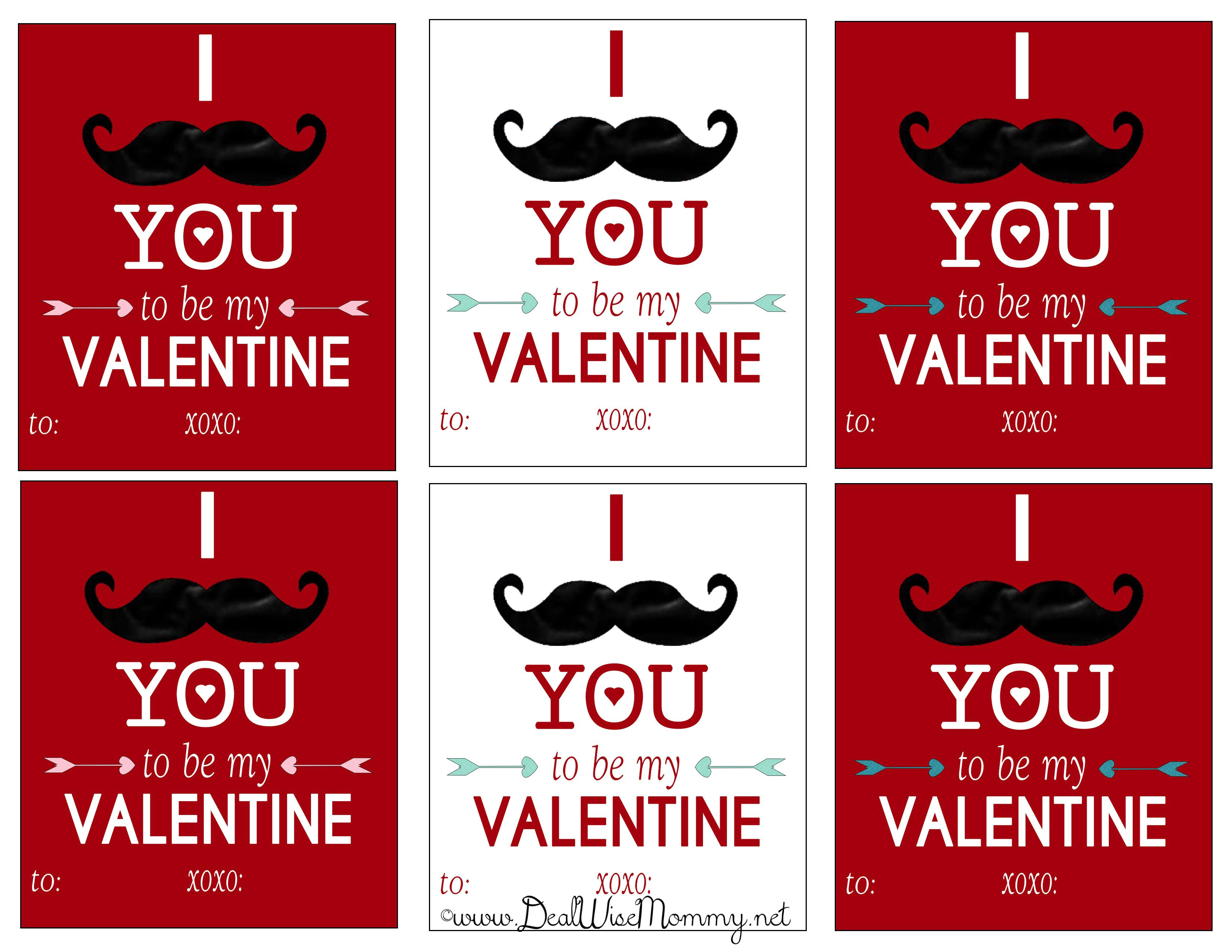 8 Images of Mustache Valentine's Printables