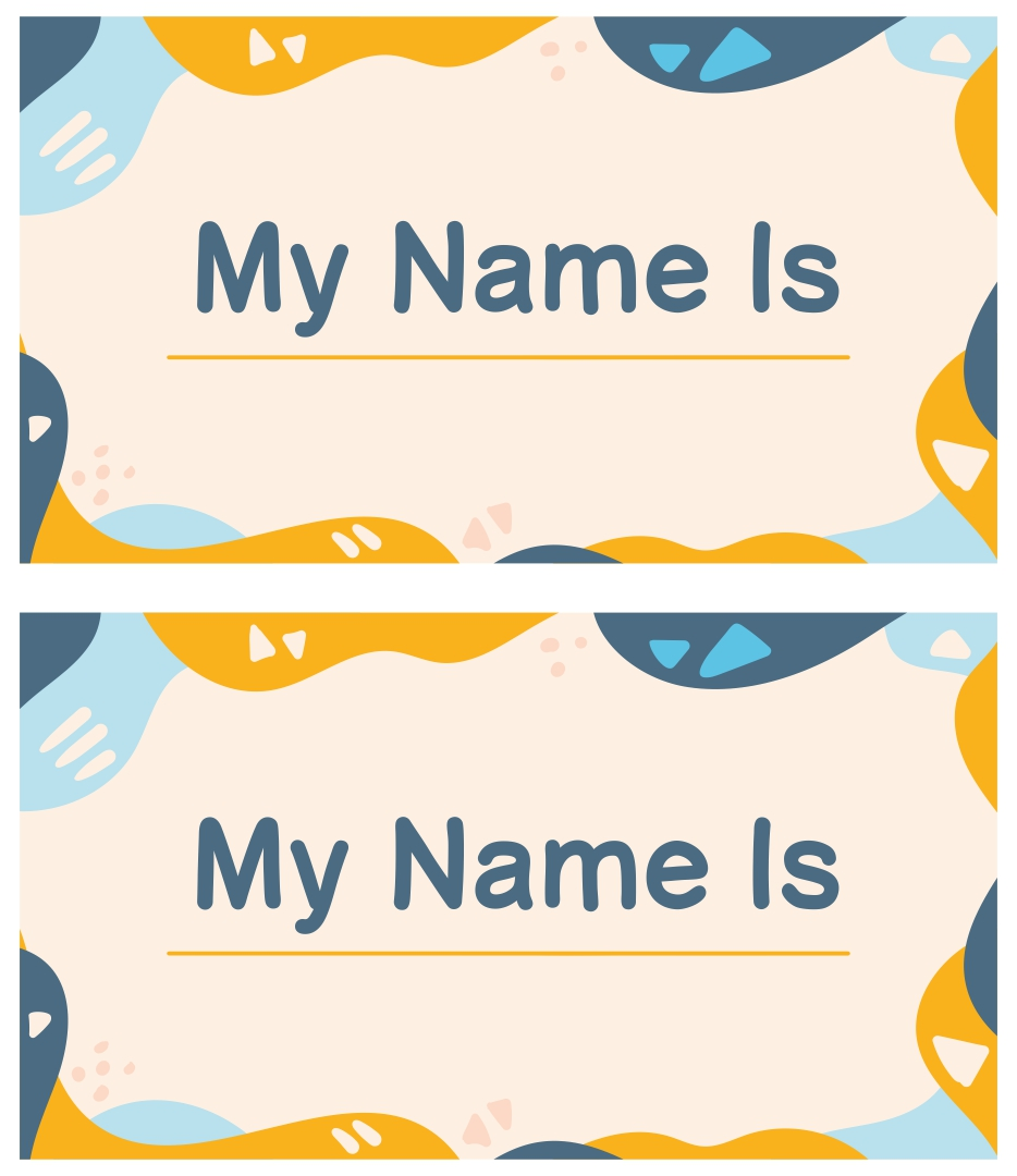 7 best images of free printable name tag borders free for Preschool name tag templates