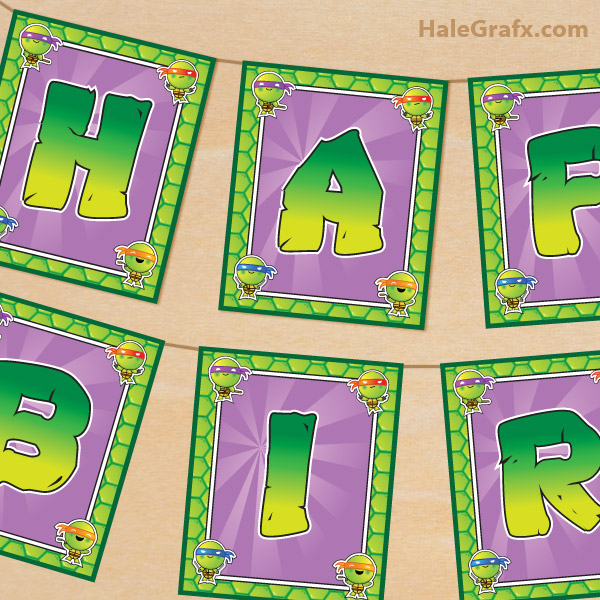 8 Images of Ninja Turtle Birthday Banner Printable