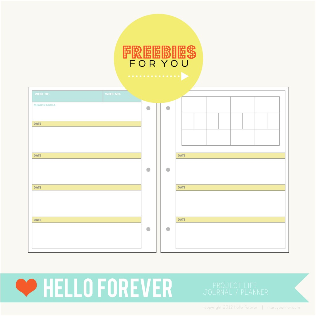 8 Images of Project Life Printable Planner Pages