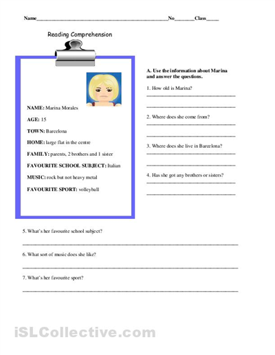 Middle School Reading Worksheets : Free printable reading comprehension worksheets for middle