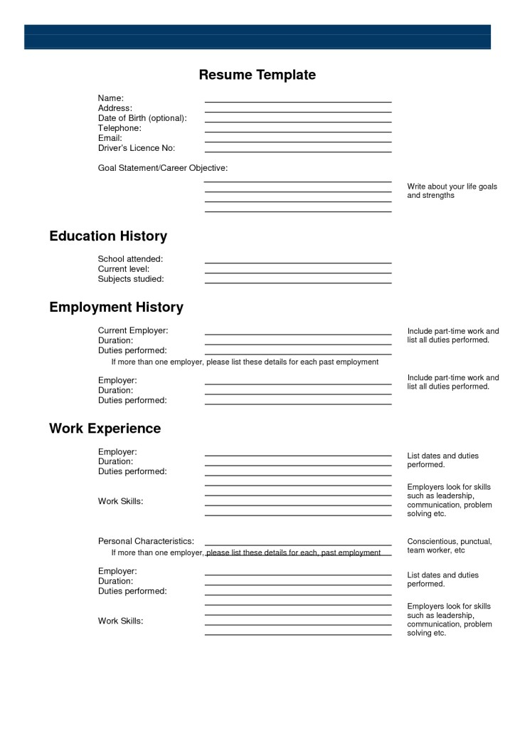 8 Images of Free Printable Blank Resume Template