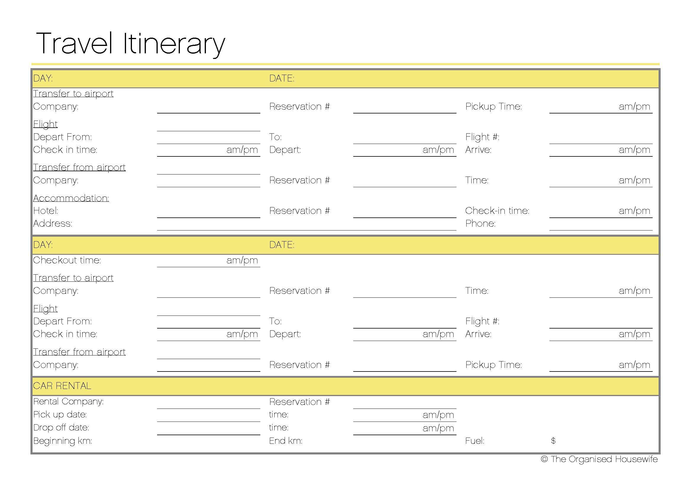 Printable Travel Itinerary