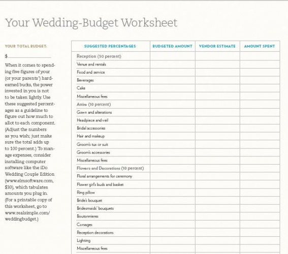 5 Images of Printable Wedding Budget Worksheet Template