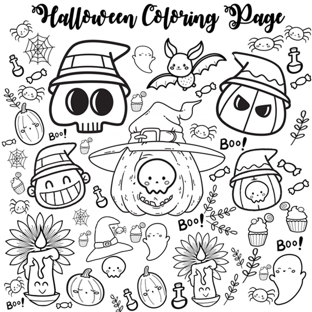 Halloween coloring page for children - funny character to color for kids activity
