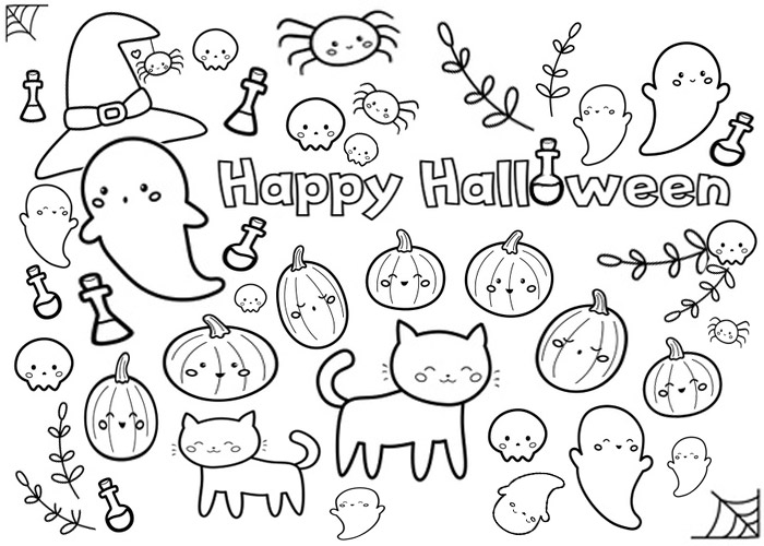 Halloween coloring page with ghost and pumpkin characters for kids activity