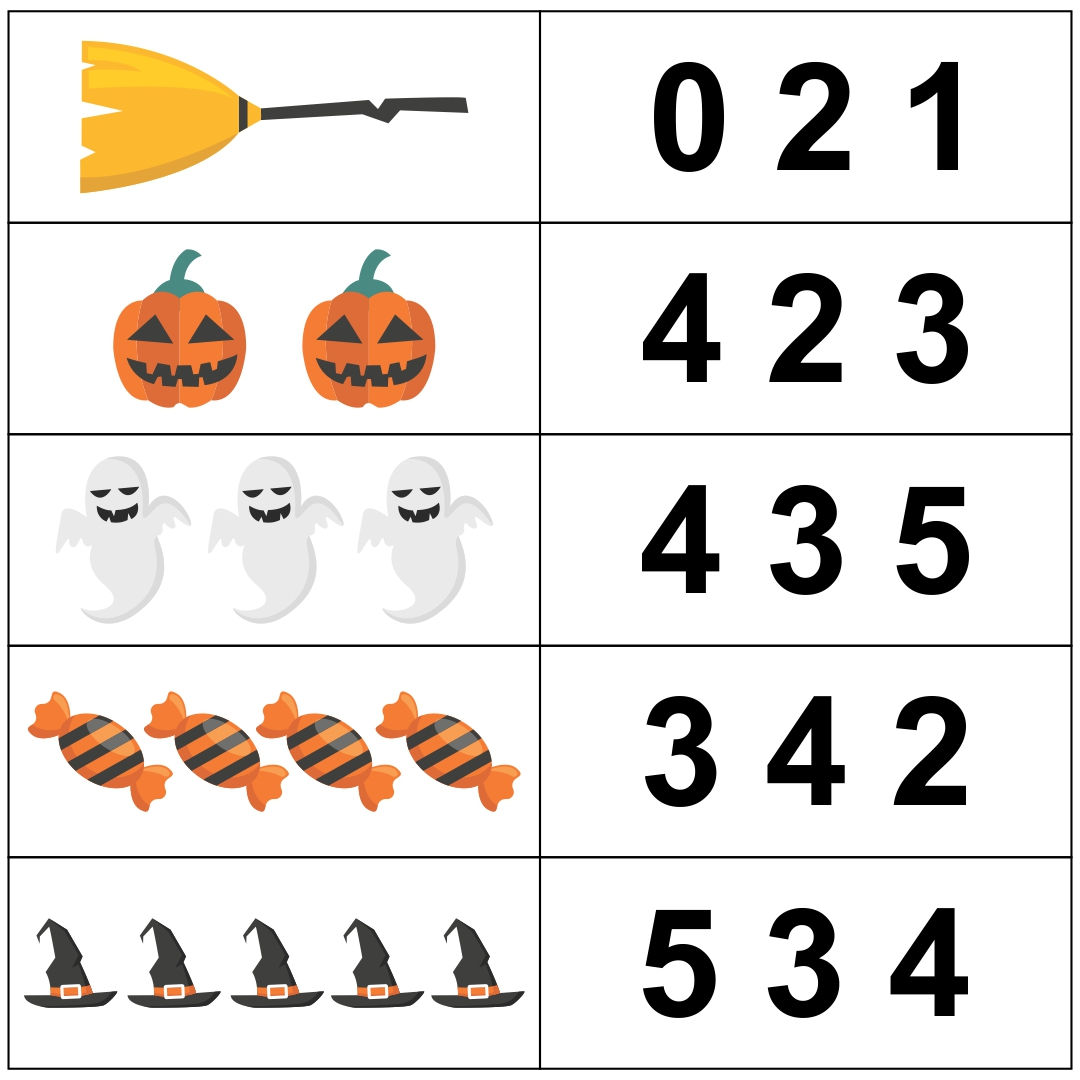 Halloween Counting Worksheets for Pre-K