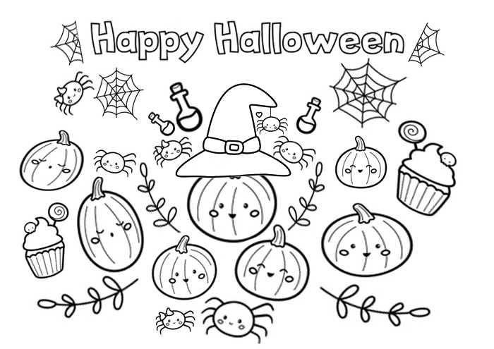 Happy halloween coloring page with pumpkin and spider for kids activity