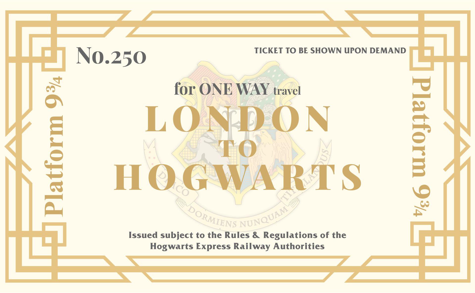 Harry Potter Hogwarts Express Ticket Invitations