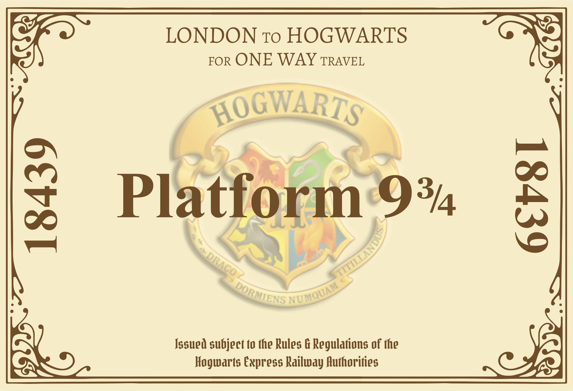 Harry Potter Hogwarts Express Ticket