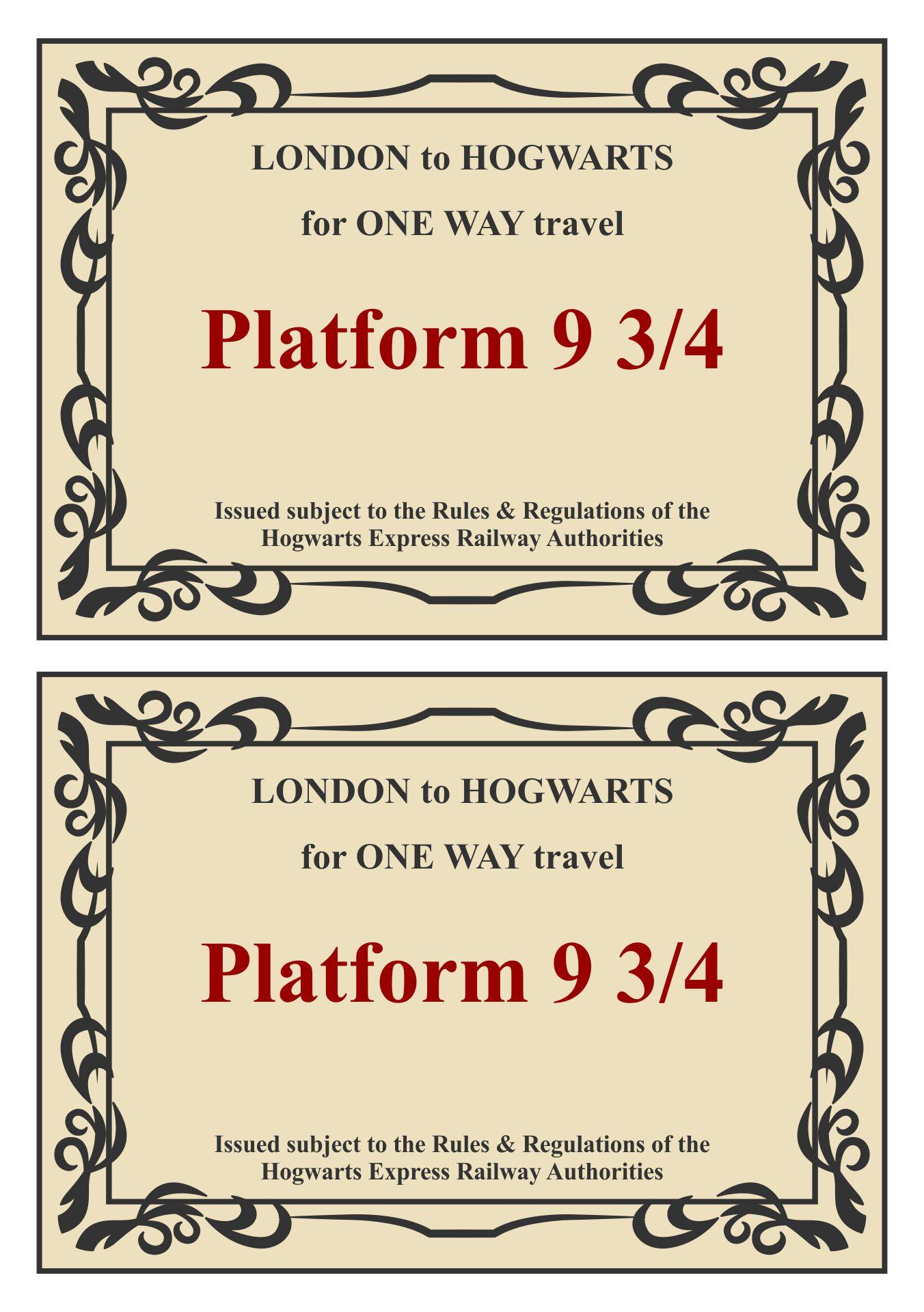 Harry Potter Hogwarts Express Train Ticket