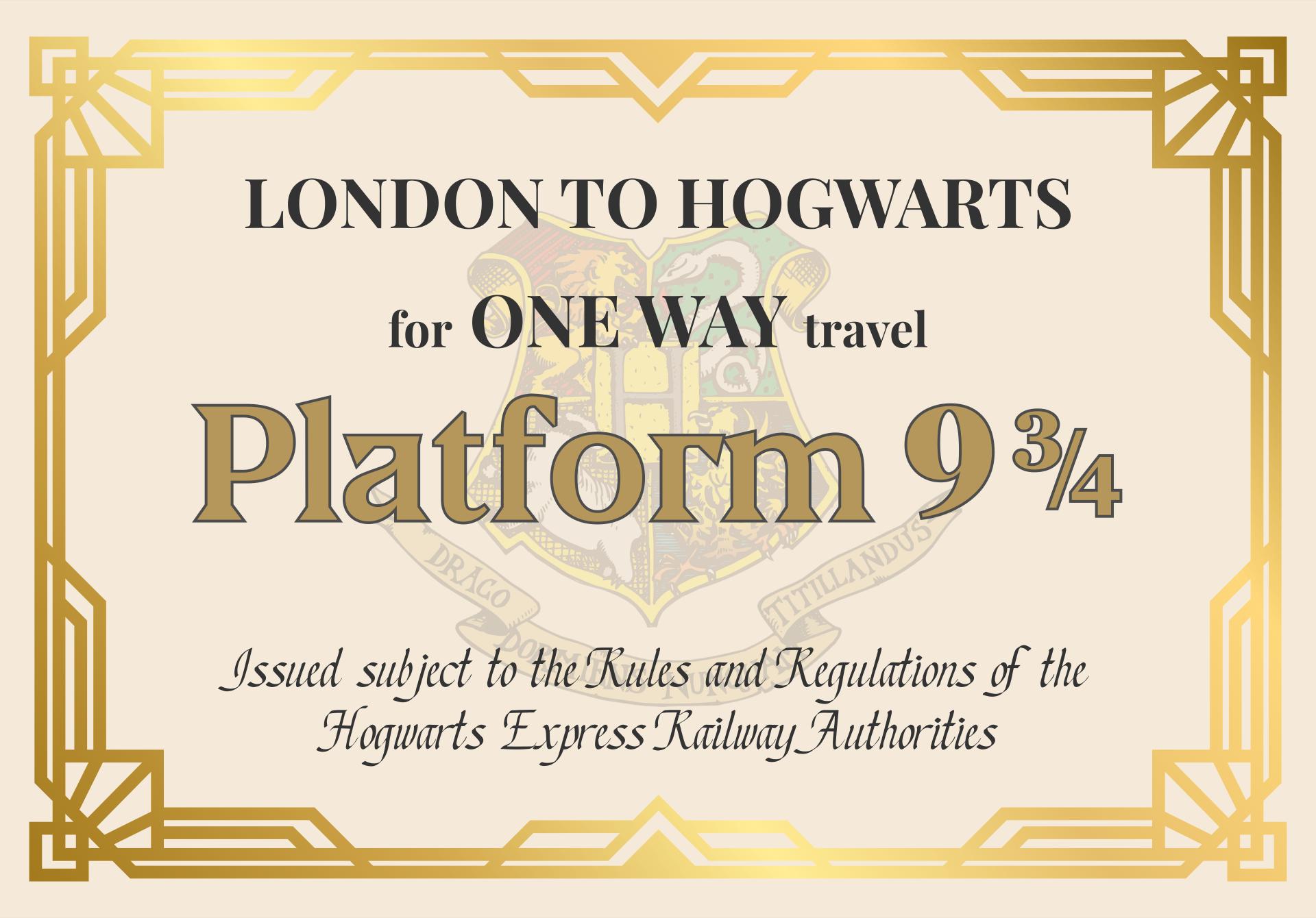 Harry Potter Hogwarts Train Ticket