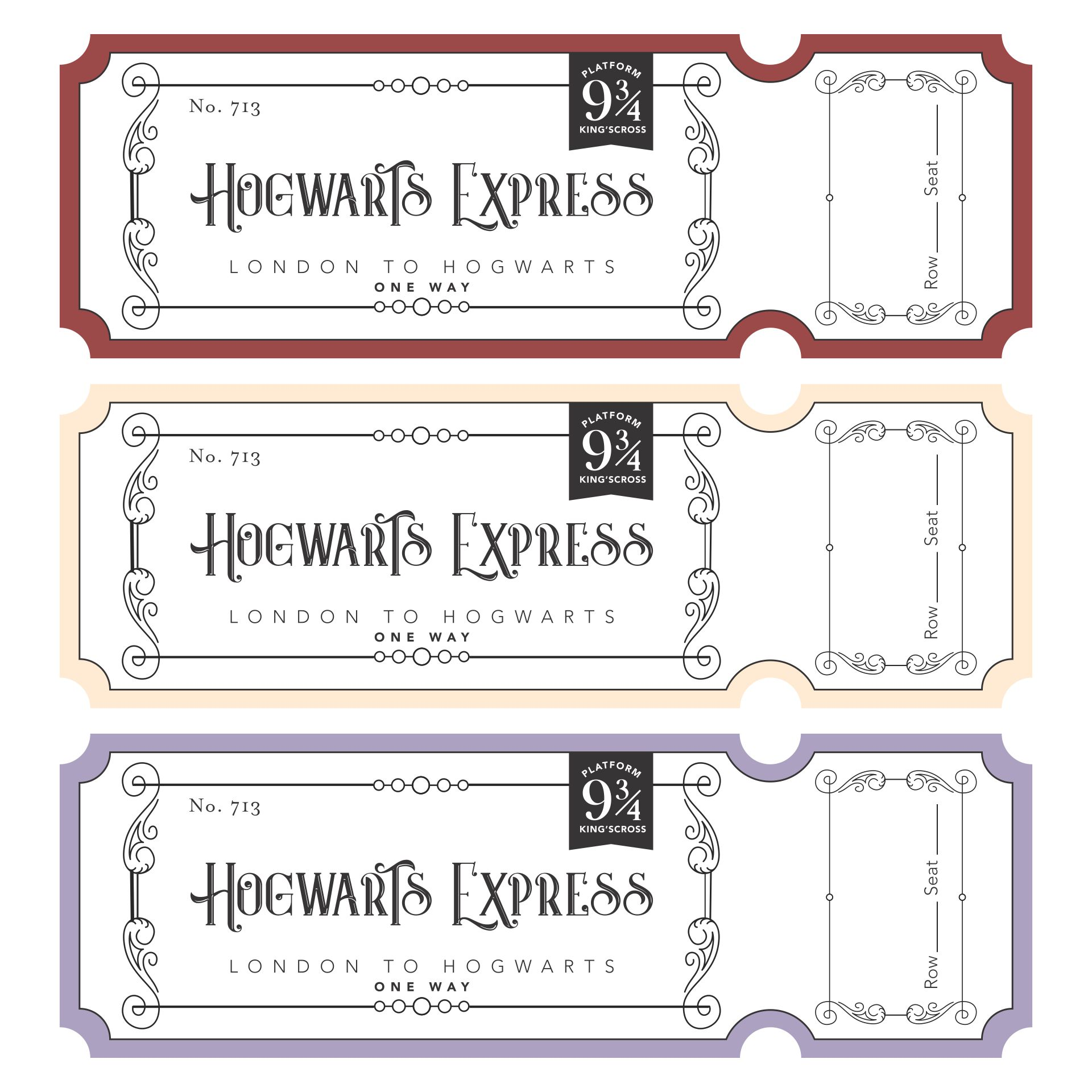7 Images of Printable Train Ticket Harry Potter