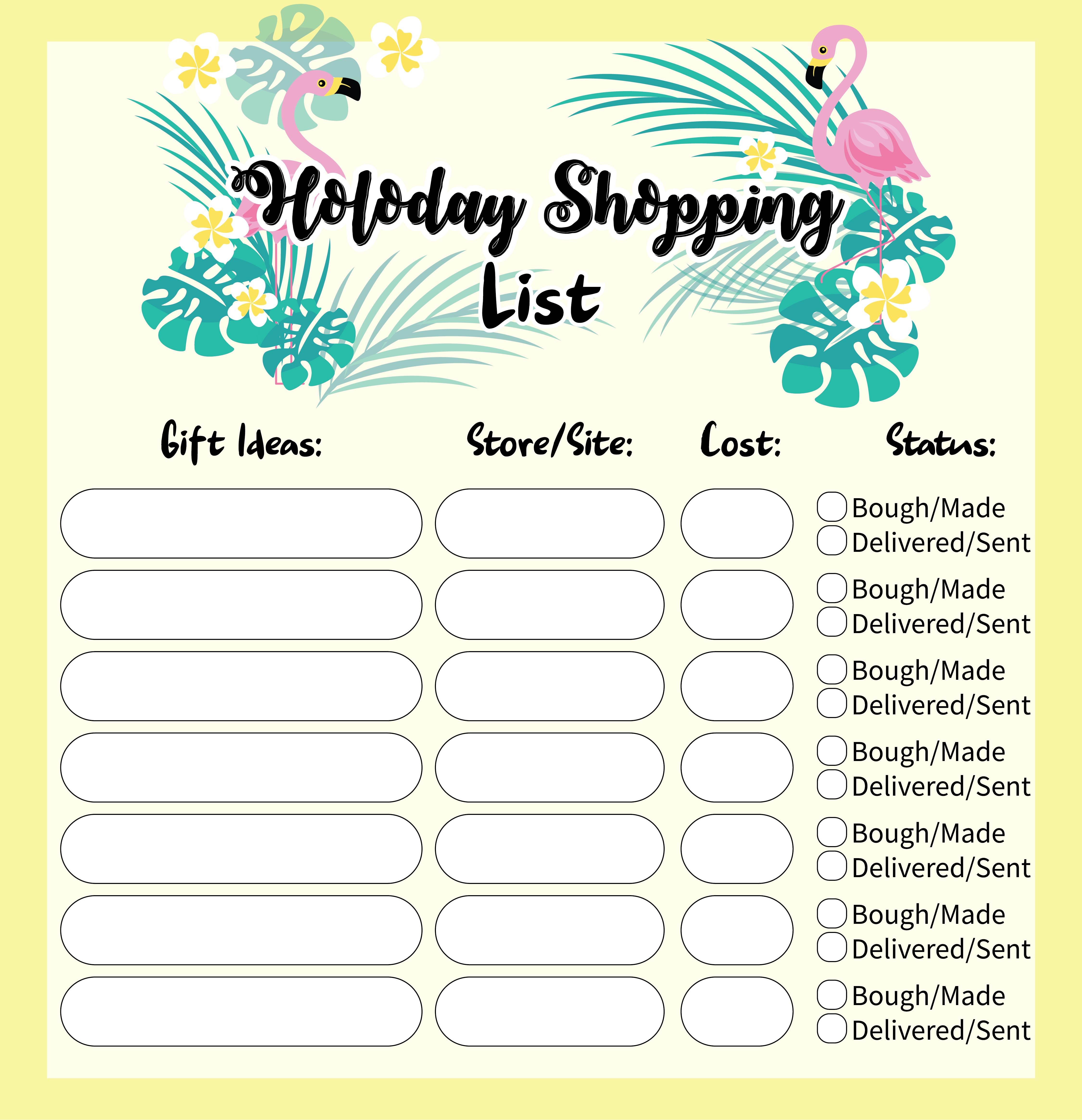 Holiday Shopping List Printable
