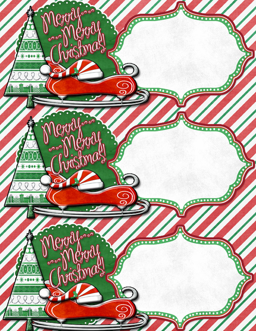 4 Images of Large Printable Christmas Tags