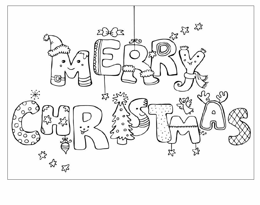 Merry Christmas Cards Coloring Pages