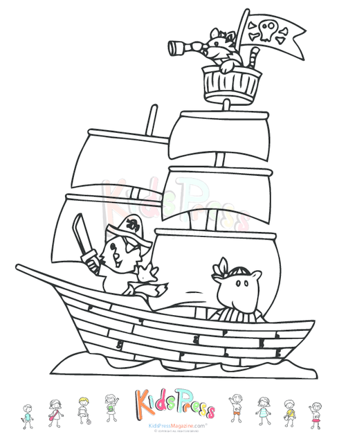 pirate ship coloring pages printable - Sunken Pirate Ship Coloring Pages