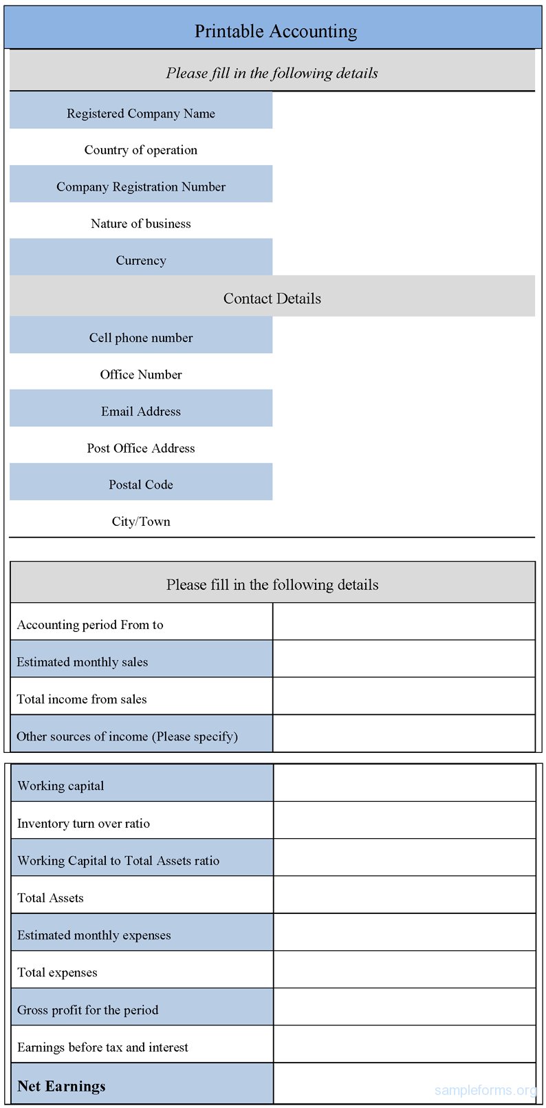 8 Images of Free Printable Accounting Forms