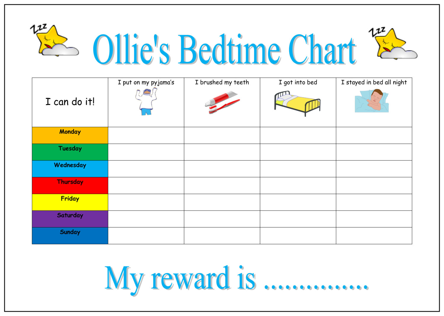 6 Images of Printable Bedtime Routine Chart