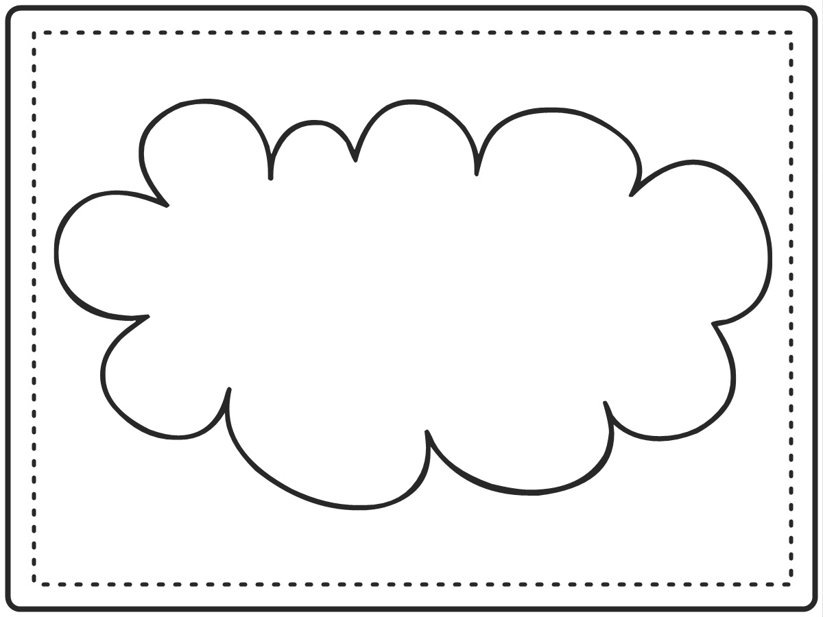 6 best images of cloud template printable cloud cut out for Cloud template with lines