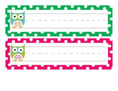 6 Images of Owl Printable Cubby Tags