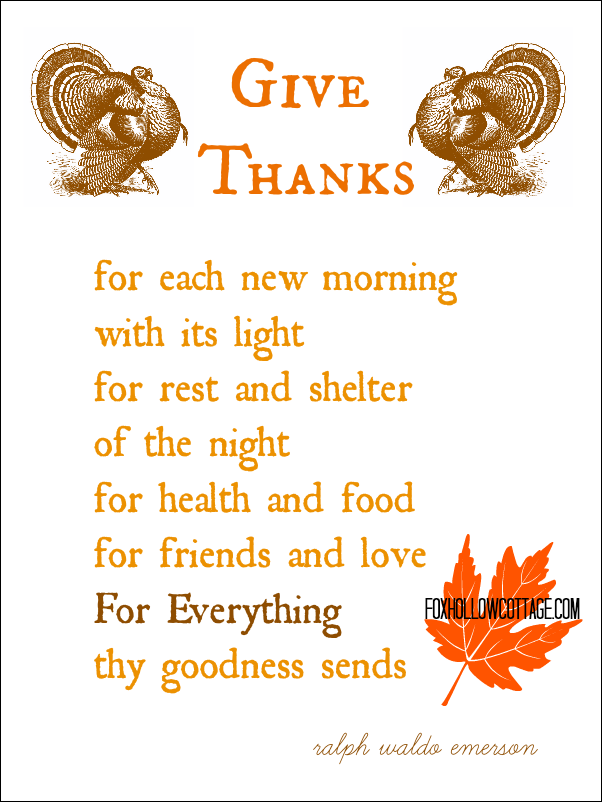 Printable Thanksgiving Poems