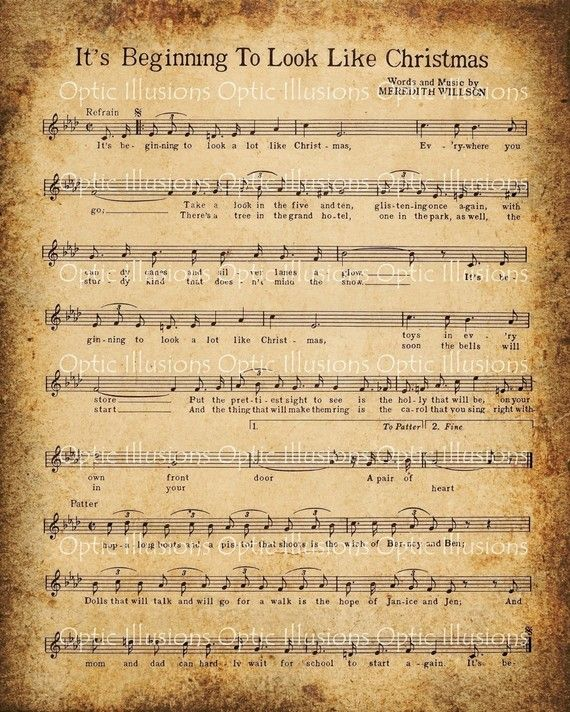 Sheet Music And Lyrics To Joy To The World: 8 Best Images Of Old Christmas Sheet Music Printables