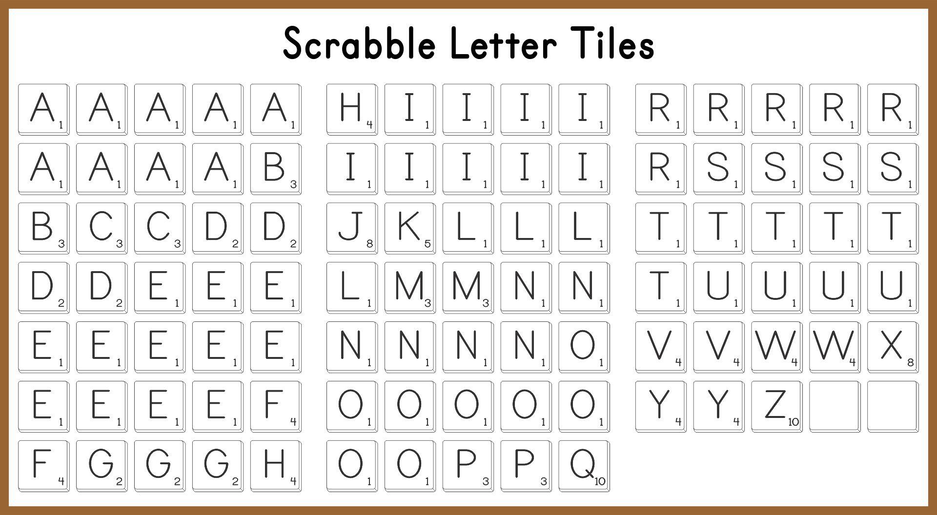 Scrabble Letter Tiles Printable
