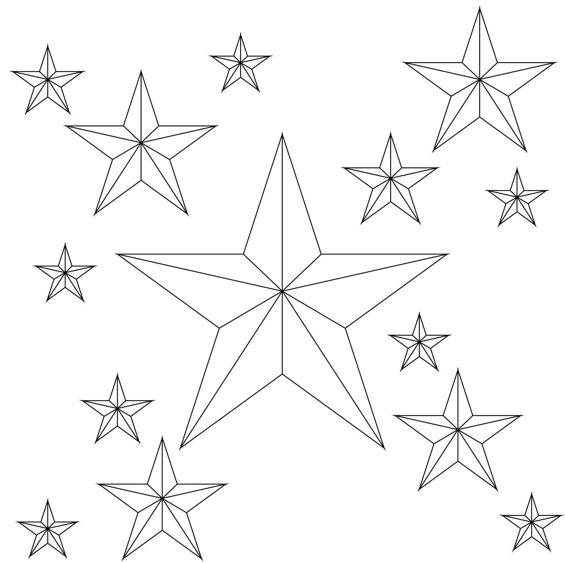 Stars Outline Different Sizes