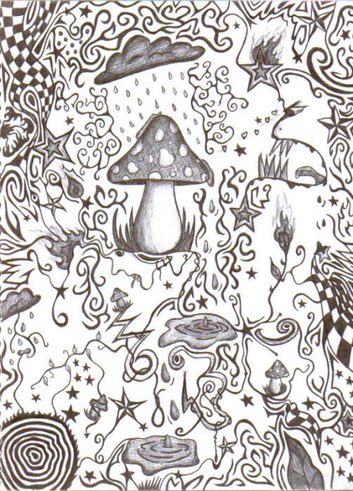 Trippy Mushroom Weed Coloring Pages