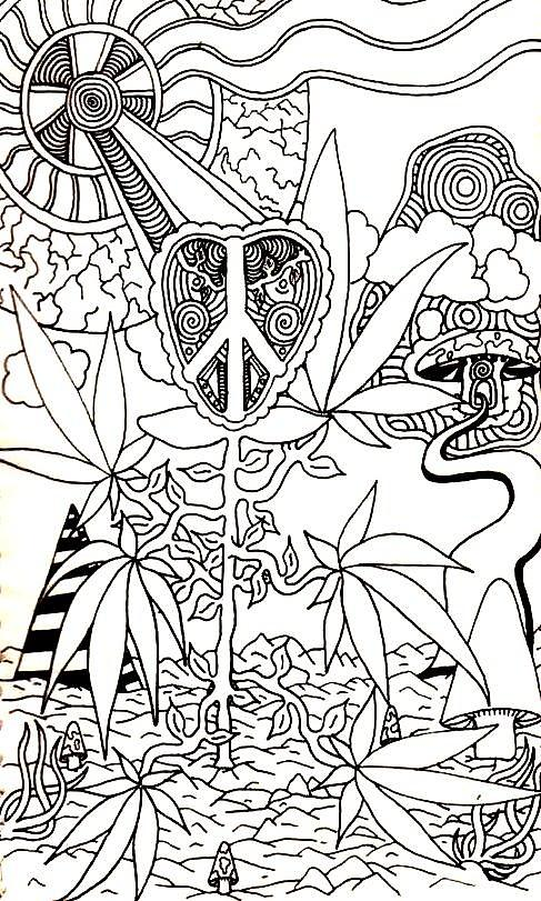 7 best images of printable abstract coloring pages stoner for Coloring pages weed
