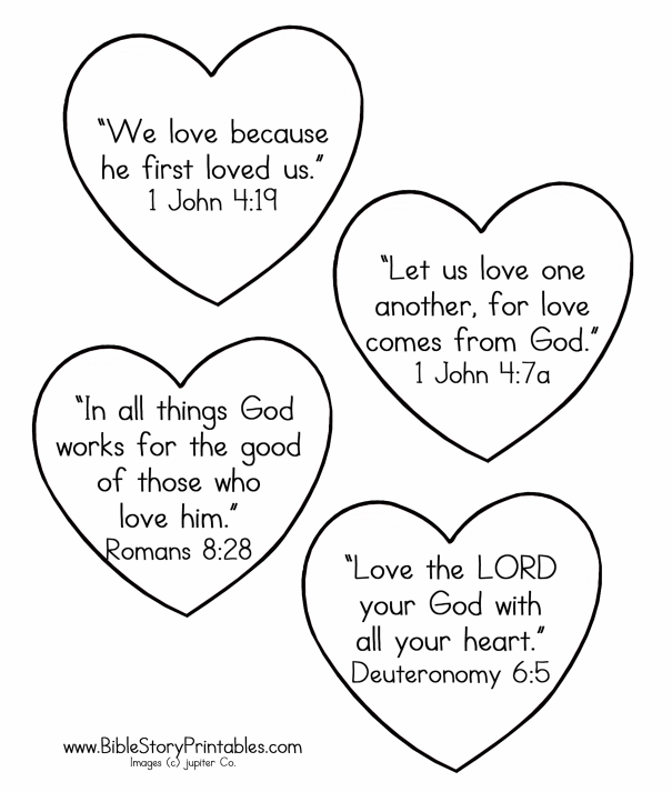 4 Images of Bible Valentine's Day Printable Cards To Color