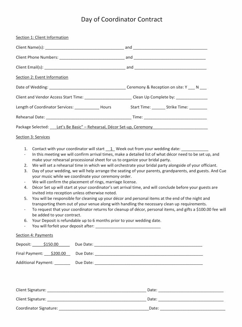 Wedding Planner Contract Agreement