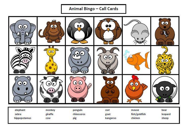 8 Images of Printable Animal Bingo Cards
