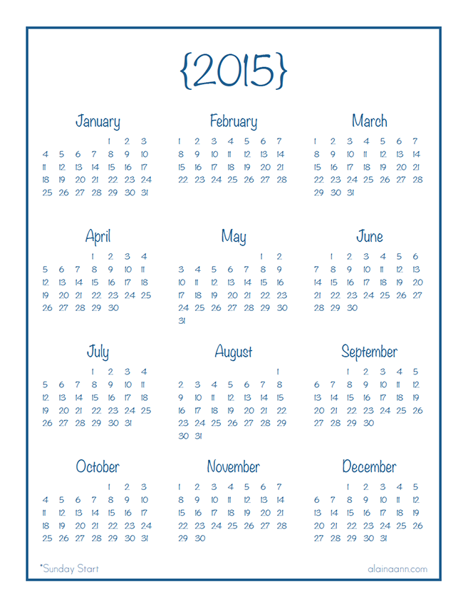2015 Year at Glance Calendar Printable