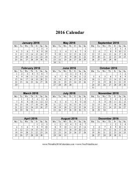 6 Images of 2016 Calendar Printable Vertical List