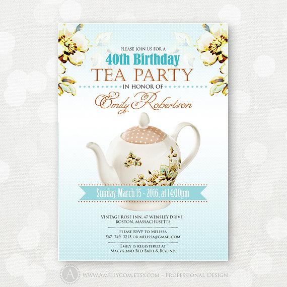 Adult Tea Party Invitations