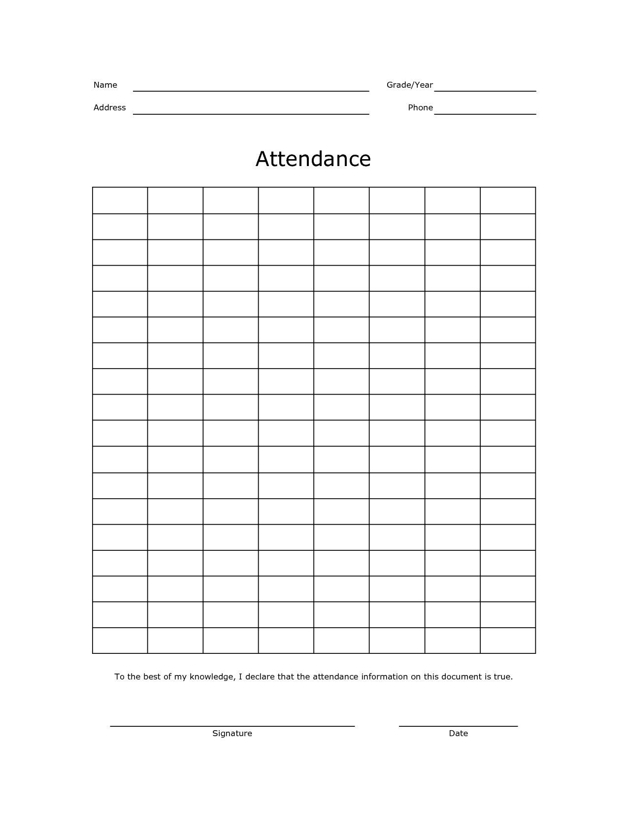 free printable attendance record school attendance sheets event