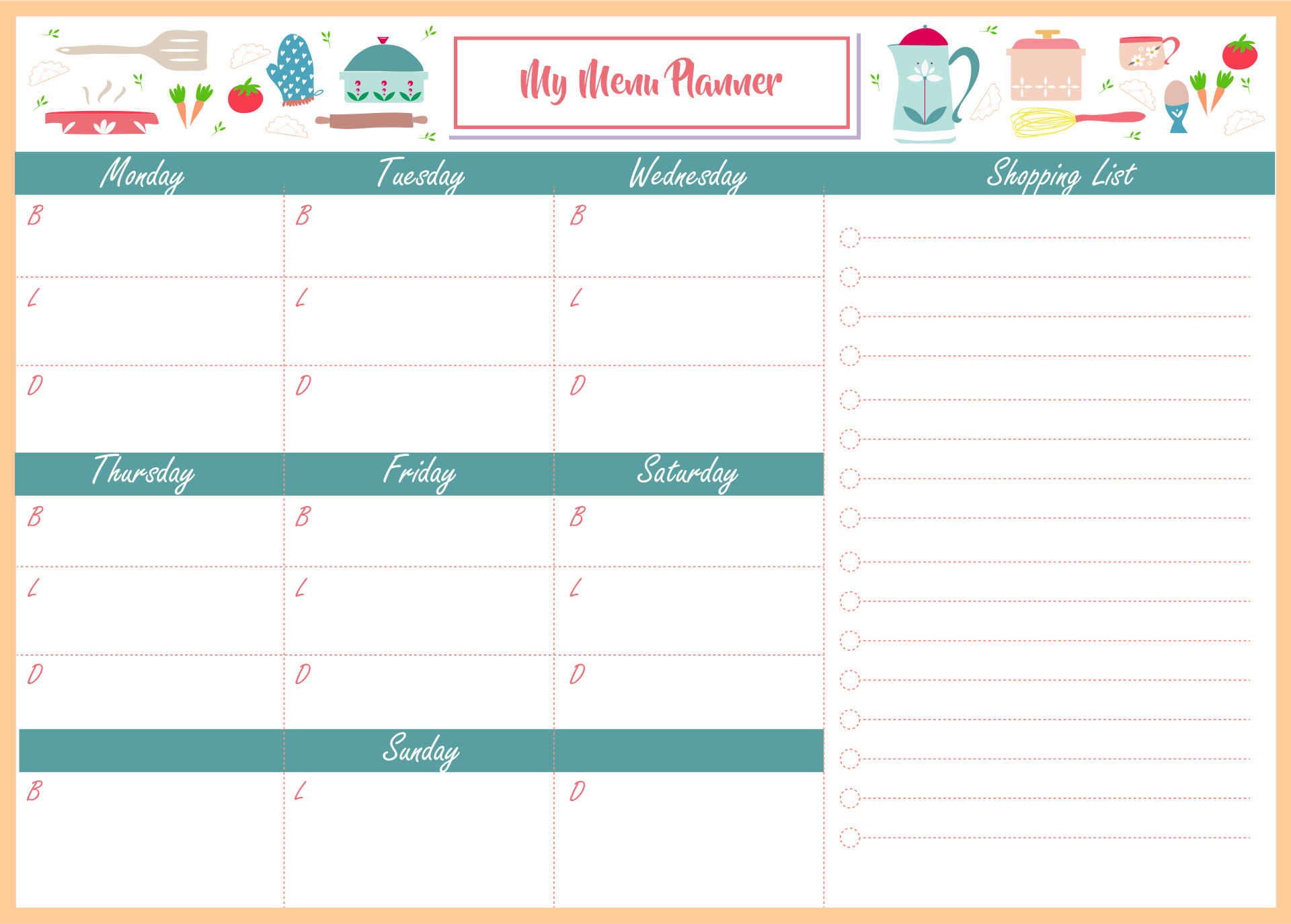 blank daycare menu template - 6 best images of printable sample day care menu food