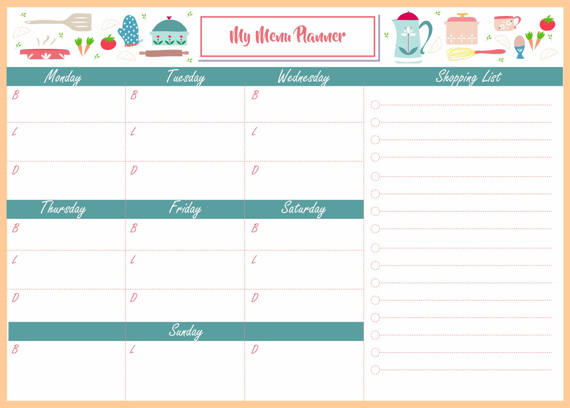 Blank Weekly Menu Calendar