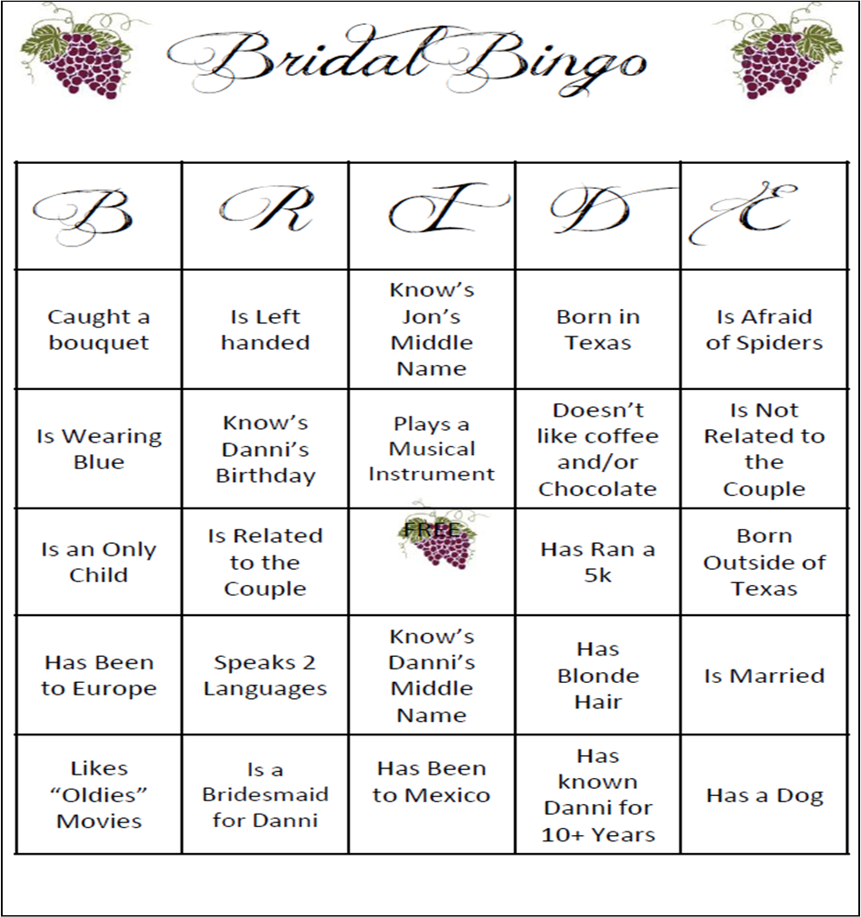 bridal shower games bingo free printables 243161 Top Result 60 Best Of Templates for Bridal Shower Games Pic 2017 Phe2