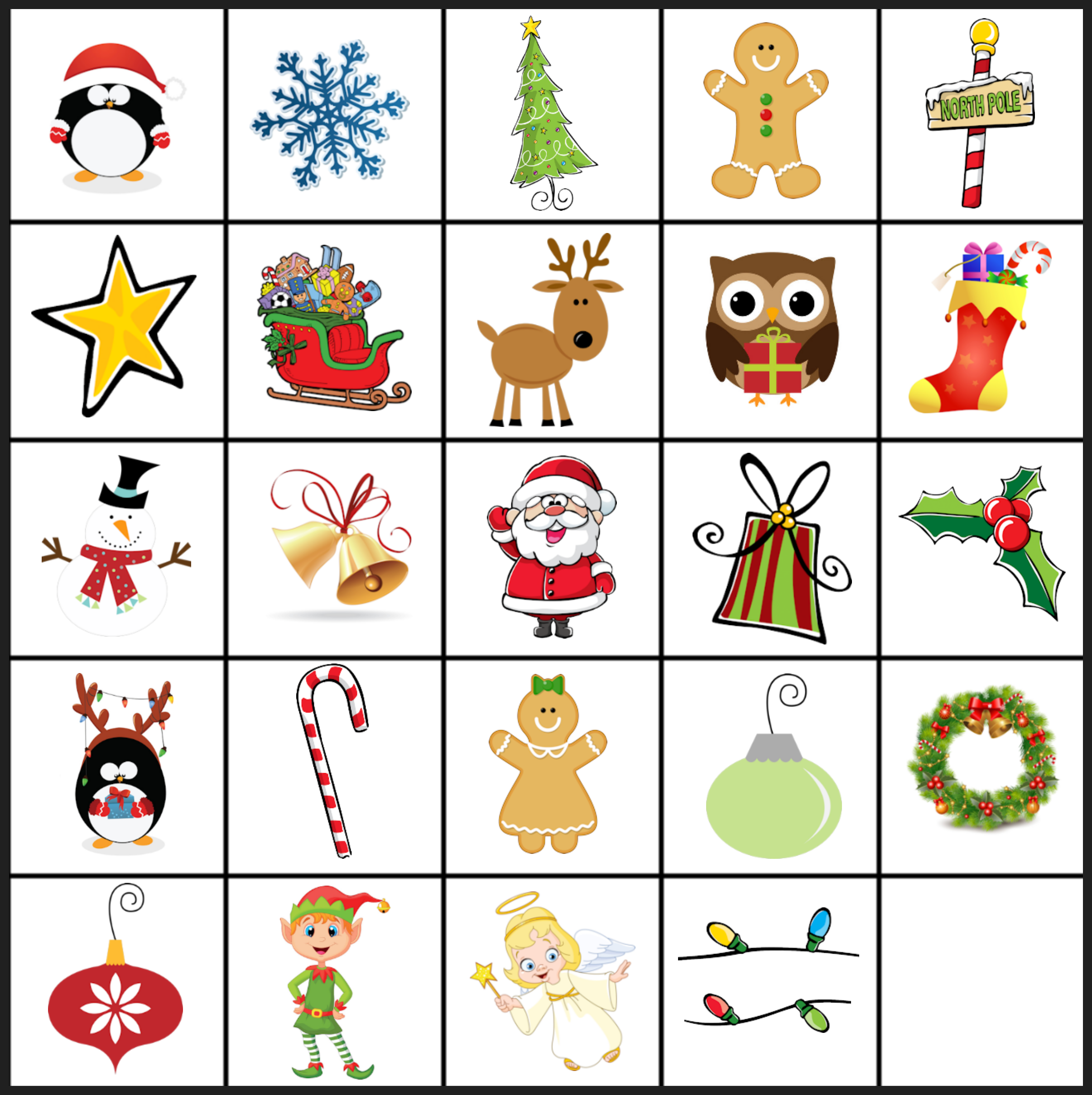 6 Images of Christmas Matching Game Printable