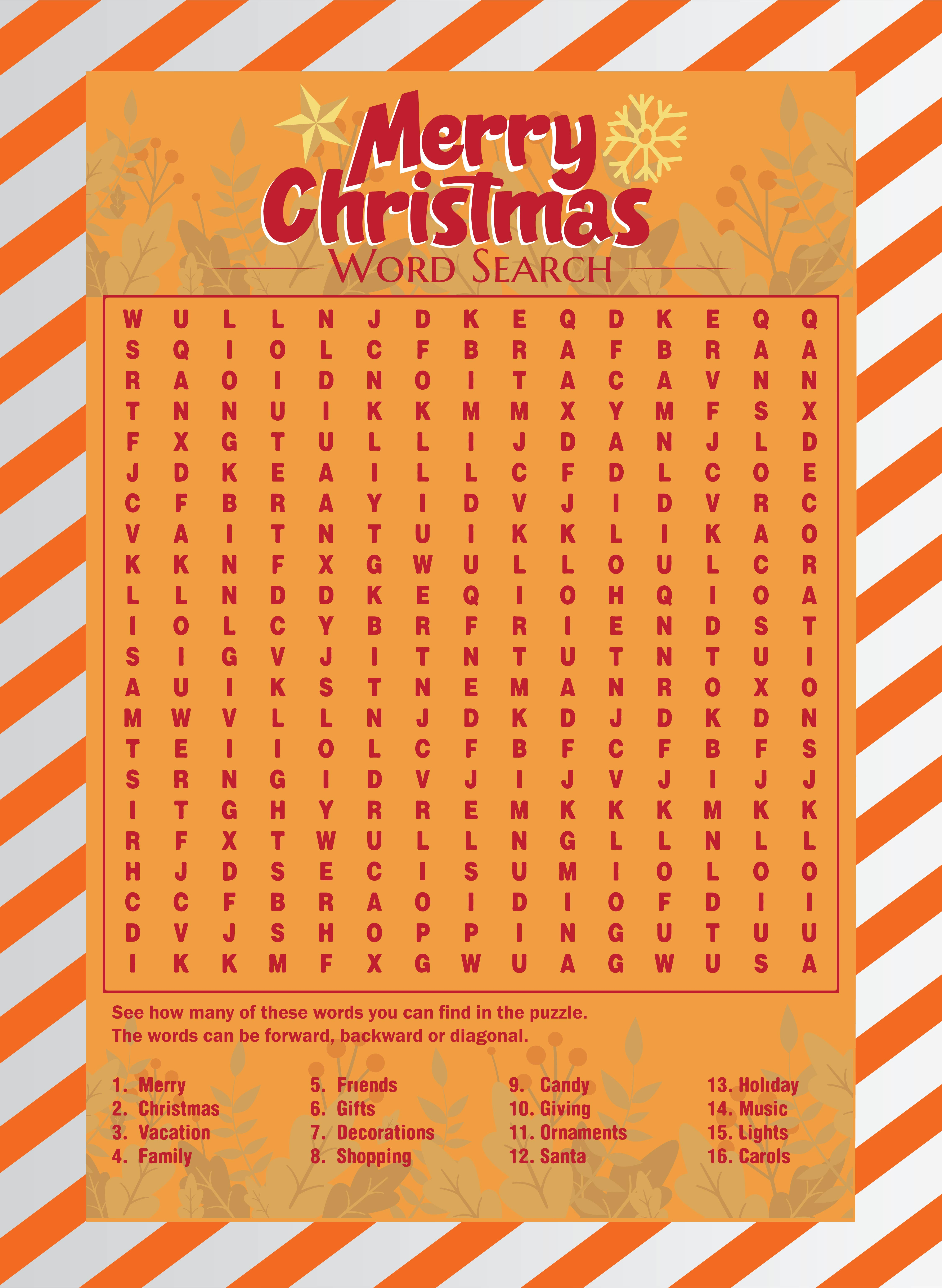 Christmas Word Search Puzzles Printable