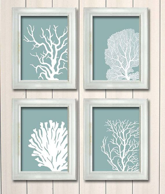 Coral Blue Beach Wall Art Set