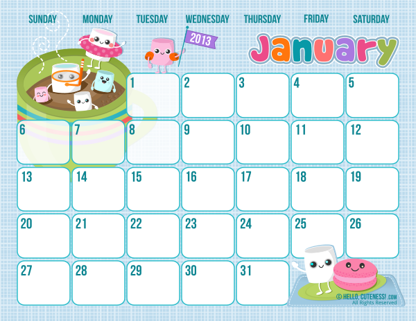 5 Images of Cute Printable January Calendar 2016