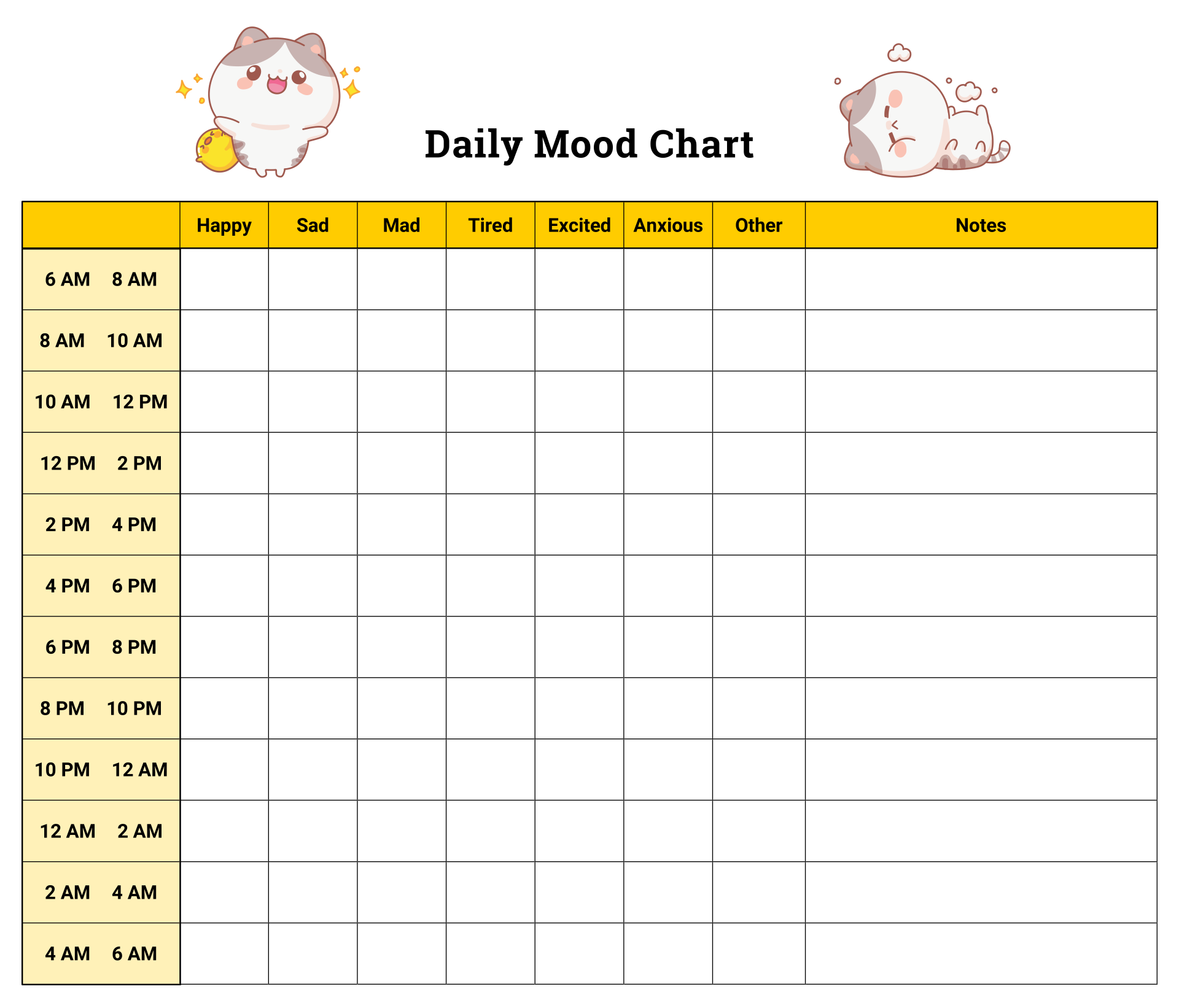 7 best images of printable daily mood chart daily mood for Mood log template