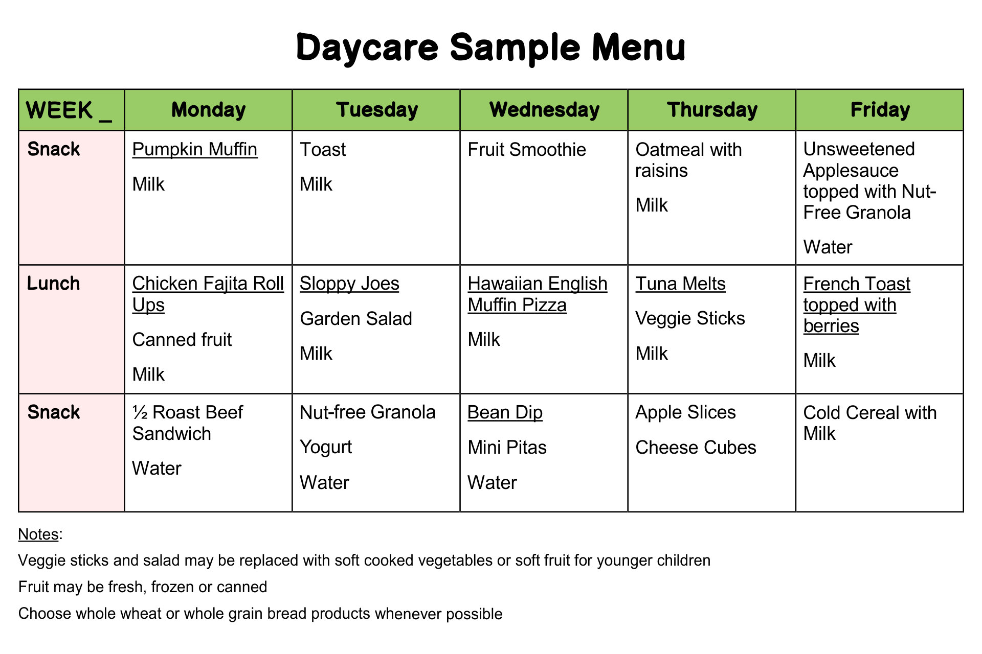 daycare food menu template 6 best images of printable sample day care menu food