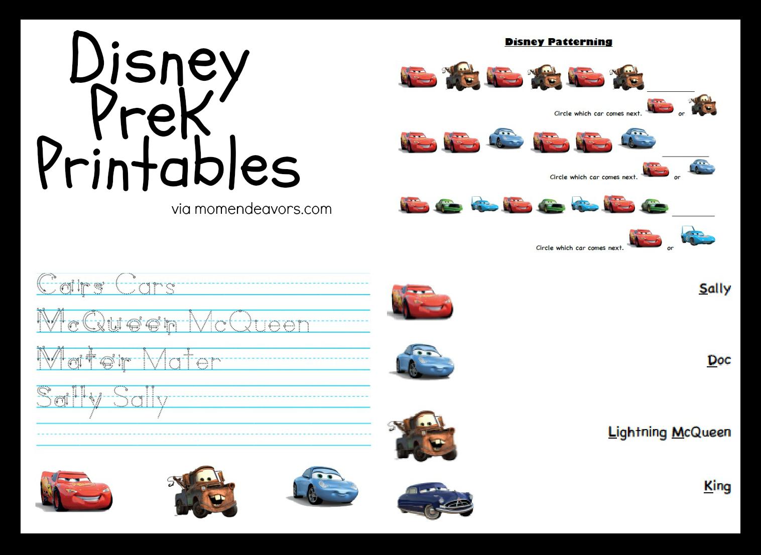 8 Images of Disney Preschool Printable Worksheets